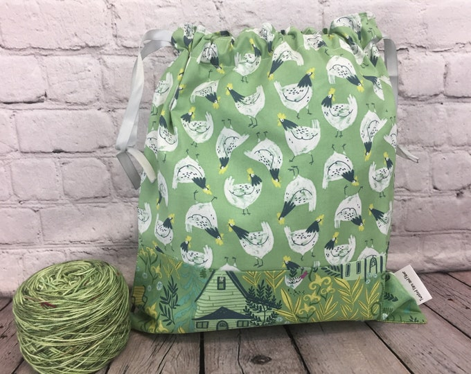 Chickens,  Knitting Project Bag, Crochet Project Bag, Yarn Bag, Fiber Project Bag, Sock knitting bag, Shawl project bag