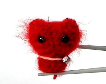 Amigurumi RED MoMoMi MochiQtie -- mini mochi size crochet amigurumi toy doll