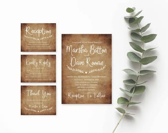 Rustic Wedding Suite- Rustic Wedding Invitation Template Download- Printable Wedding- Printable Wedding Invitation Suite- Instant Download
