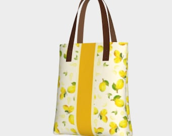 Lemon Print Bag - Summer Totes, Purse with Lemons, Lemon yellow tote, Every Day Bag, lemon love, fashion tote bags, summer bag, shoulder bag