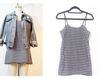 Grunge Plaid Crepe 90s Inspired Cami Dress Made to Order