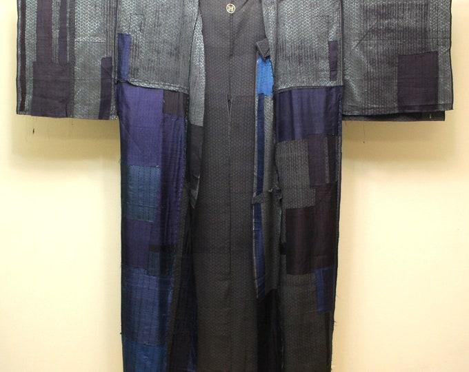 Japanese Boro Folk Textile. Silk Kimono with Patches (Ref: 1862 )