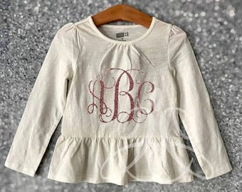 Girls Shimmer Peplum Tops | Bow | | Little Girl Shirt | Monogram Childrens clothes
