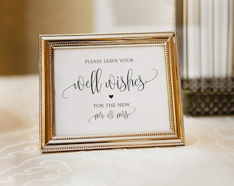 Printable Wedding Well Wishes Sign|Guest Book Ideas|Wishing Well Sign|Reception Sign|Memory Box Sign|Wedding Sign|Guest Book Alternative|PDF
