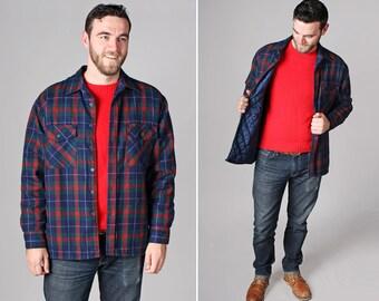 Vintage flanelle chemise veste - pays tissé rétro hiver vêtements manteau matelassé 1970 flanelle rouge bleu manches longues - taille l ou XL
