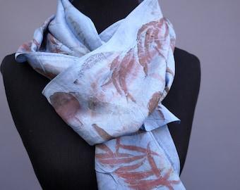 Indigo Silk Scarf - Eco Printed Scarf - Luxury Silk Scarf - Eco Printed Silk - Naturally Dyed Scarf - Gifts for Her