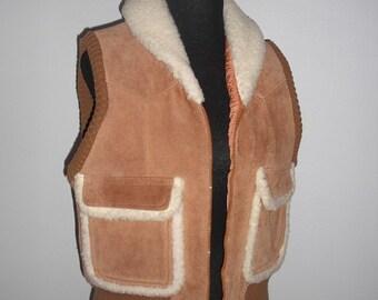 Vintage 1970s Genuine suede Leather vest Pioneer Wearr  Medium Size 38 COOL Indie Grunge Hipster