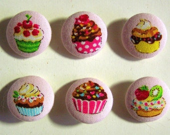 Sweet Cupcake Kawaii Fabric-Covered Buttons - Choose Your Set - Sweets Dessert Fabric Covered Round Buttons