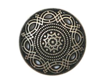 12 Arabesque 11/16 inch ( 18 mm ) Metal Buttons Antique Silver Color