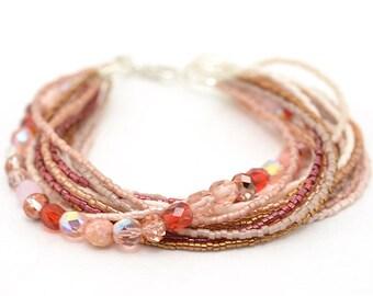 Beaded Bracelet | Seed Bead Bracelet | Fall Jewel Tone Ombre Bead Bracelet | Crimson Copper Beaded Bracelet