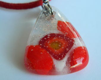 Fused Glass Pendant Geometric Dichroic Pendant Red White and Clear