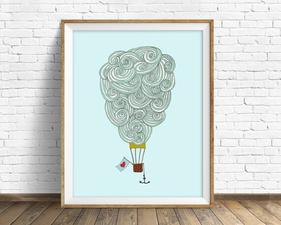 "wall art print, clouds, cloud drawing, large art, large wall art, hot air balloon, nursery wall art, nursery decor - ""Balloon Cloud No. 3"""
