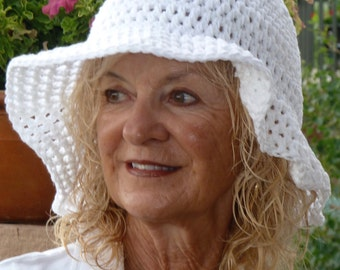 Floppy white summer hat with a brim. made for a garden wedding, original white crochet hat, summer sun hat with brim, Bohemian accessory