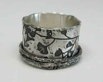 Sterling Silver Ginkgo Branch Spinner Ring