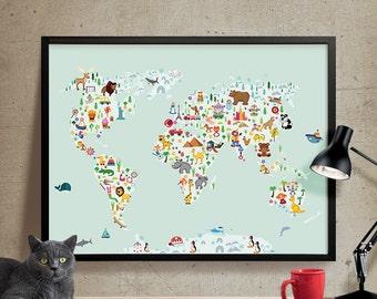 World Map Wall Art, Kids room Nursery decor, Animal World poster Map,  Nursery wall art, Kids room decor, World Map Poster, Wall Art (306)