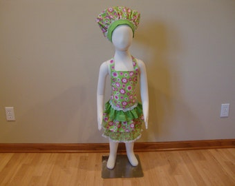 Children's Adjustable Apron and Hat Set