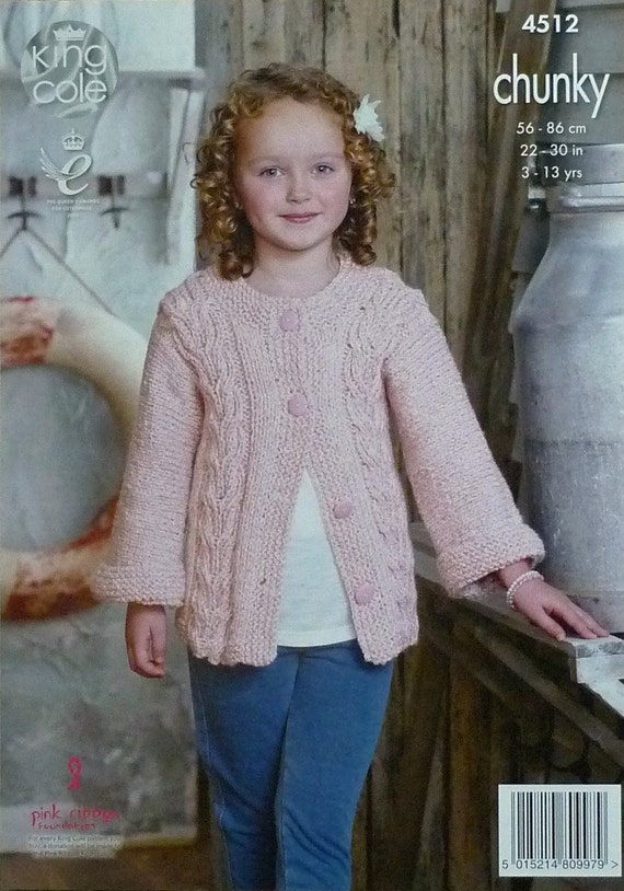 Girls Knitting Pattern K4512 Childrens Long Sleeve Round Neck Cable
