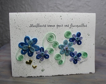 Engagement card, quilled card, quilled flower, blue flowers, blank card, french greetings