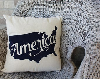 USA Pillow COVER, America Pillow, 4th of July, Cover 18x18