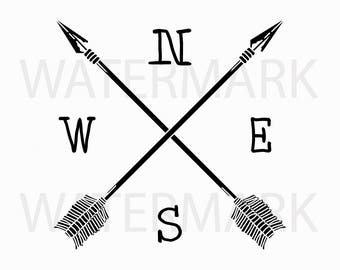 Direction Arrow with North East South West - JPG PNG SVG - Hand Drawing Image - Digital files Instant Download