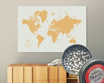Vintage Push Pin Map (Golden) Push Pin World Map Pin Board World Travel Map on Canvas Push Pin Travel Map Personalized Gift for Family