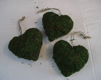 Set of 3 hearts hanging Moss