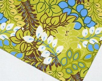 Botanical fabric, Kaufman, Vera's Garden,  1 YARD,  quilting, green, cobalt blue, brown, Destash
