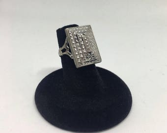 Victorian Mourning Ring Engraved 1880 Silver Tone Antique Jewelry Vintage size 5