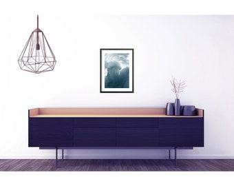 Indigo abstract art print . Large poster . Abstract home decor . Large abstract print . Grey abstract print . Abstract poster . Modern art
