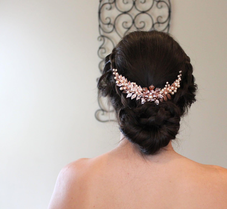 rose gold bridal hair comb rose gold headpiece wedding hair