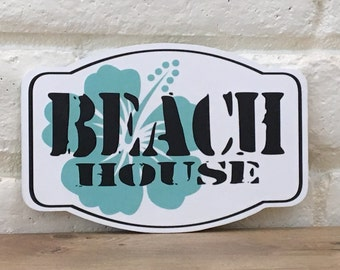 Beach House Wood Sign, Tropical Beach Sign, Beach Decor, Beach Bathroom Decor, Beach Bedroom Decor, Beach Theme Gift, Hibiscus Flower Decor