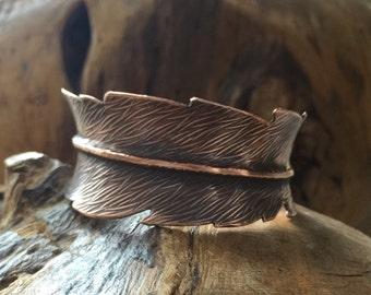 Copper Feather Cuff Bracelet