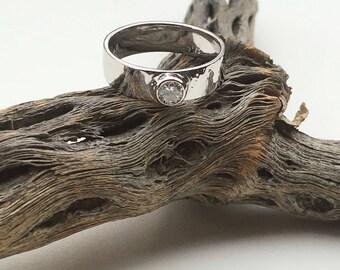 Hammered Diamond Engagement Ring,  Handmade 4.5 MM Diamond 14kt Gold Hammered Engagement Ring
