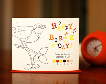 Color By Number Songbird Birthday Card on 100% Recycled Paper
