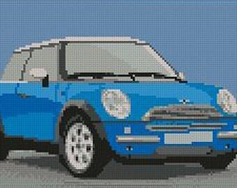 Mini Cooper Light Blue Counted Cross Stitch Kit