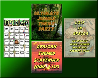 4 Jungle Party Downloads - Jungle Bingo, Treasure Hunt Puzzles and more - for a great Jungle Safari Party!
