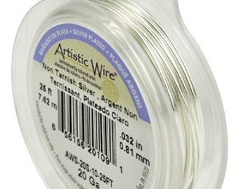 Artistic Non-Tarnish Silver Wire, 20 Gauge, 25 Feet | BDC-824.40