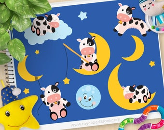 Cow and Moon Clipart, sleepy time, cute cows, baby nursery, sleeping, stars, space, goodnight, commercial use, vector clipart, SVG Cut files