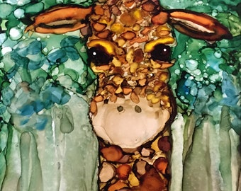 Baby Giraffe Alcohol Ink on Ceramic Tile