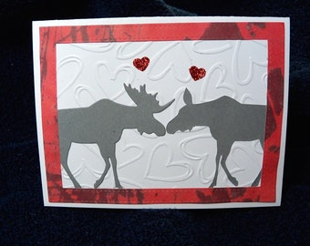 Moose greeting card, anniversary, valentine, wedding, love handmade greeting card for many occasions.  Embossed hearts and kissing moose.