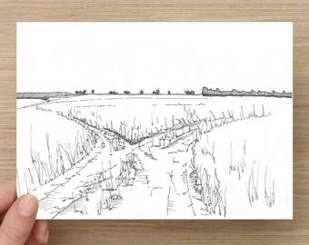 Ink Sketch of A Fork In A Dirt Road - WYoming, Drawing, Landscape, Art, Pen and Ink, 5x7, 8x10, Print