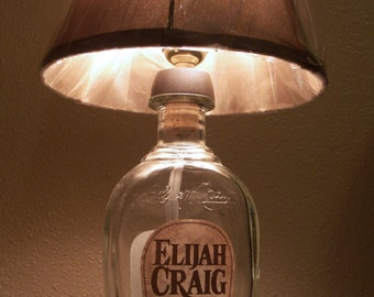 Bottle Lamp - Elijah Craig Whiskey Bottle Lamp - Small Desk Bottle Lamp