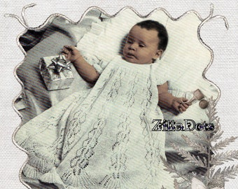 Baby Knitting Pattern - PDF Download - Dainty Baby Christening Gown knitted in 2 ply yarn, to fit 47-48 cm chest