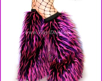 Rave Monster Fluffies Furry Leg Warmers Hot Pink, Purple, Black Boot Covers