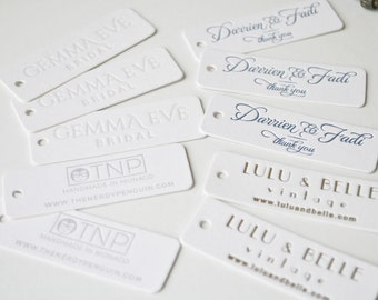 100 Custom letterpress tags; letterpress hang tags, thank you tags, gift tags; Rounded corners, hole punching, small tags; Custom ink color
