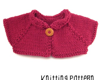 PATTERN Knitting Simple Shrug - Waldorf Doll Pattern - Bamboletta Clothes