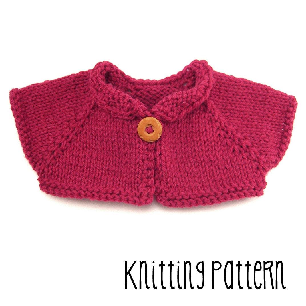 PATTERN Knitting Simple Shrug Waldorf Doll Pattern
