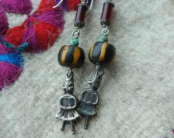 Vintage Milagros Trade Bead Earrings