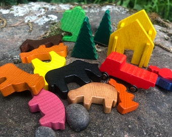 Vintage Miniature Wooden ANIMAL Figurine Collection  - Vintage Wooden Toy - Vintage Farm / Truck / Tree -  Vintage Craft Supply