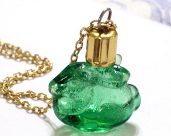 Max Factor Bunny Vial, Vintage Musk Vial, Rare Vintage Green Bunny Rabbit Gold Plated Perfume Vial Pendant Necklace, Bunny Perfume